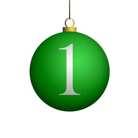 Number 1 from cristmas ball alphabet. photo