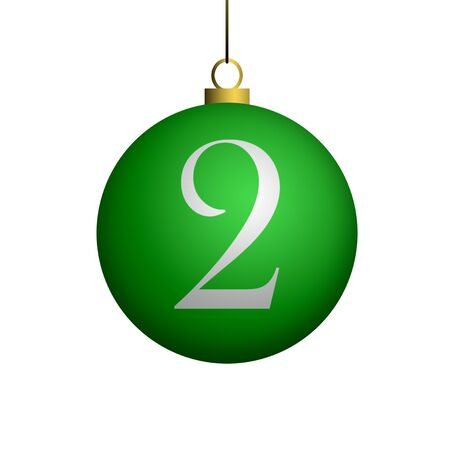 Number 2 from cristmas ball alphabet. photo