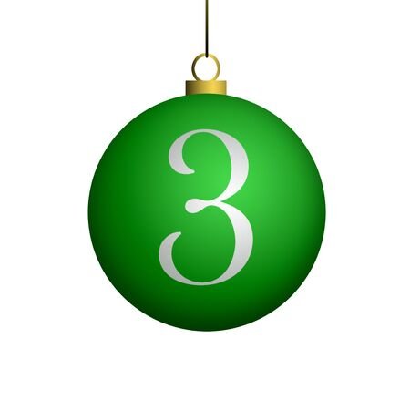 Number 3 from cristmas ball alphabet. photo