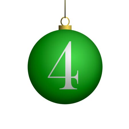 Number 4 from cristmas ball alphabet. photo