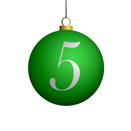 Number 5 from cristmas ball alphabet. photo