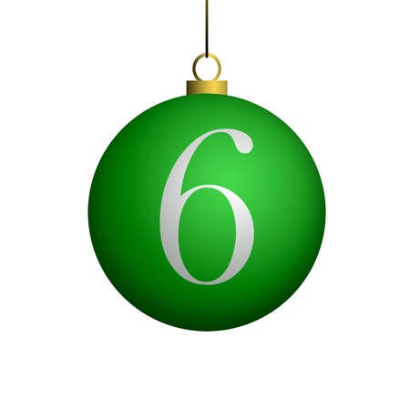 Number 6 from cristmas ball alphabet. photo