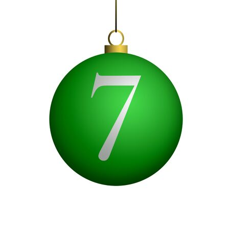 Number 7 from cristmas ball alphabet. photo