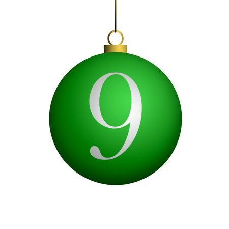 Number 9 from cristmas ball alphabet. photo