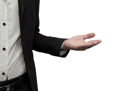 appointee: Open hand of a business man. Stock Photo