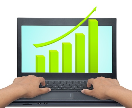 laptop with business or profits growth graph photo