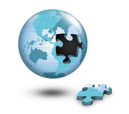 Puzzle globe with white background. photo