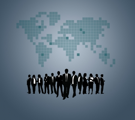 employment issues: Team of business people with the World map background.