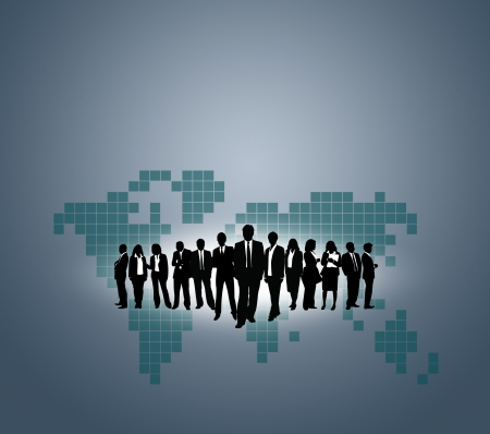 international organization: Team of business people with the World map background.