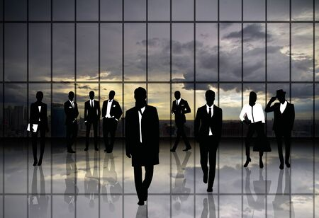 Silhouettes,Business people with the exchange. photo