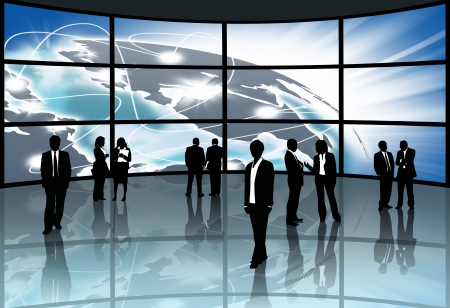Silhouettes,Business people with the exchange. Stock Photo