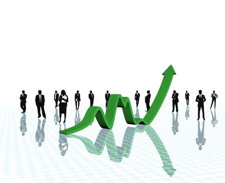 statistique: Concepts croissance �conomique sur fond blanc.