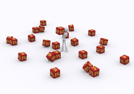 3D person holding the dice 0 percent. Stock Photo - 16206468
