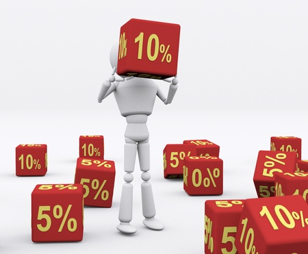 3D person holding the dice 10 percent. Stock Photo - 16208103