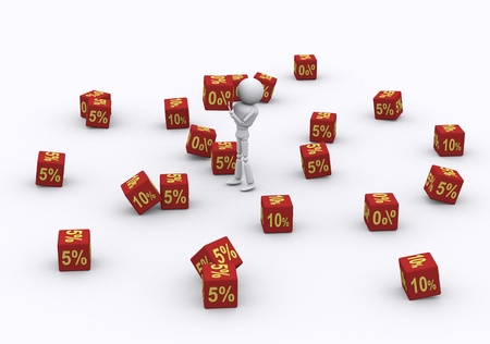 3D person holding the dice 0 percent. Stock Photo - 16206476