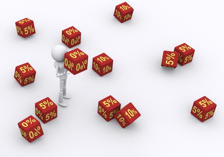 3D person holding the dice 0 percent. Stock Photo - 16207218