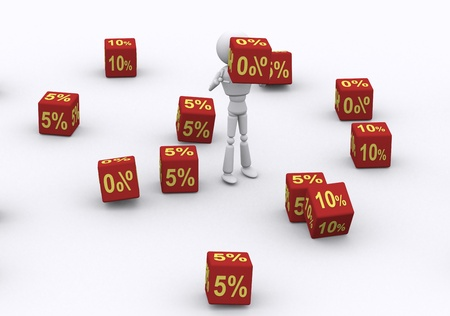 3D person holding the dice 0 percent. Stock Photo - 16206471