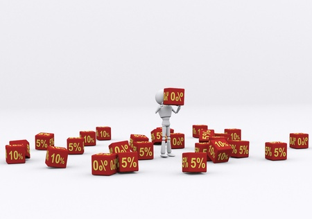 3D person holding the dice 0 percent. Stock Photo - 16202254