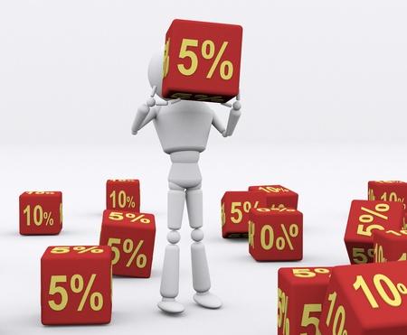 numero diez: 3D persona sosteniendo los dados 5 por ciento. Foto de archivo
