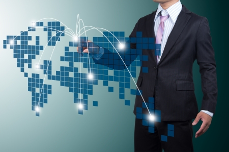 expand: Business with Expansion on screen. Stock Photo