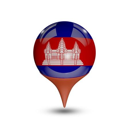 cambodia: Flag of Cambodia pin isolated on white. Stock Photo