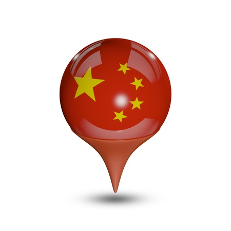 Flag of China pin isolated on white.
