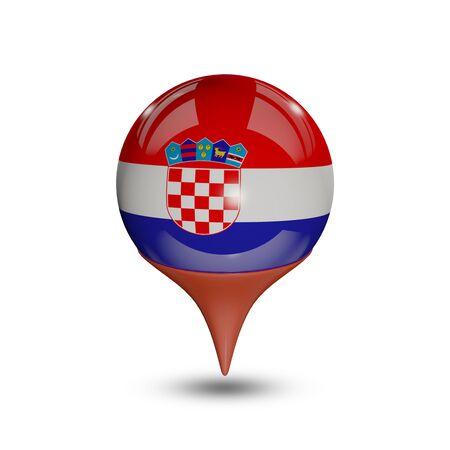 croatia flag: Flag of Croatia pin isolated on white.
