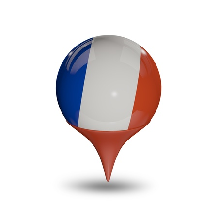flag of france: Flag of France pin isolated on white.