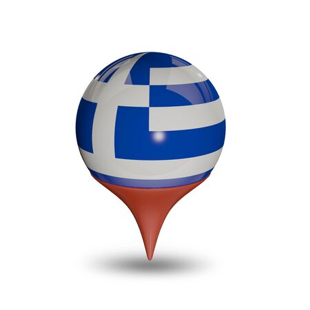 maps globes and flags: Flag of Greece pin isolated on white. Stock Photo