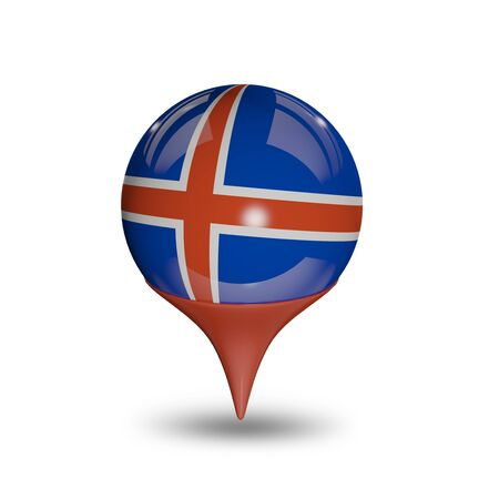 Flag of Iceland pin isolated on white. photo