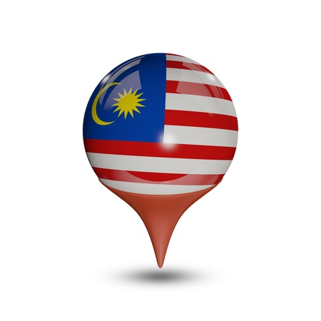 Flag of Malaysia pin isolated on white.