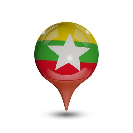 Myanmar: Drapeau du Myanmar pin isol� sur fond blanc.