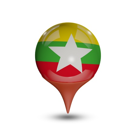 myanmar: Flag of Myanmar pin isolated on white. Stock Photo