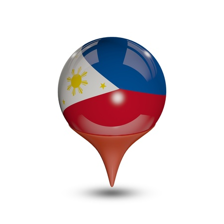 philippines: Flag of Philippines pin isolated on white.
