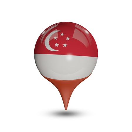 Flag of Singapore pin isolated on white. Editorial