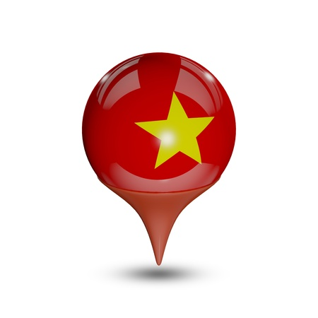 Flag of Vietnam pin isolated on white.
