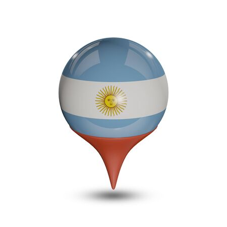 flag pin: Flag of Argentina pin isolated on white.