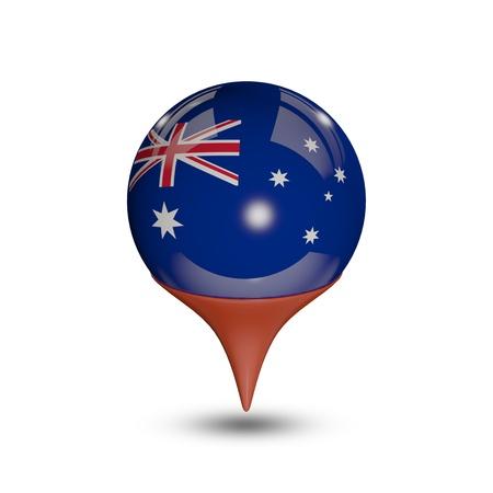 Flag of Australia pin isolated on white.