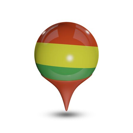 flag pin: Flag of Bolivia pin isolated on white. Stock Photo