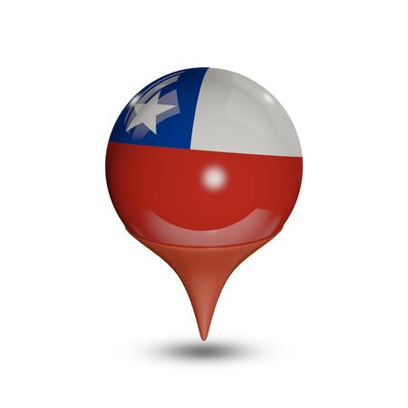 chile flag: Flag of Chile pin isolated on white. Stock Photo