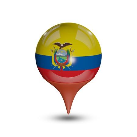 flag pin: Flag of Ecuador pin isolated on white. Stock Photo