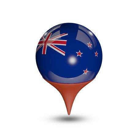 flag pin: Flag of New Zealand pin isolated on white. Stock Photo