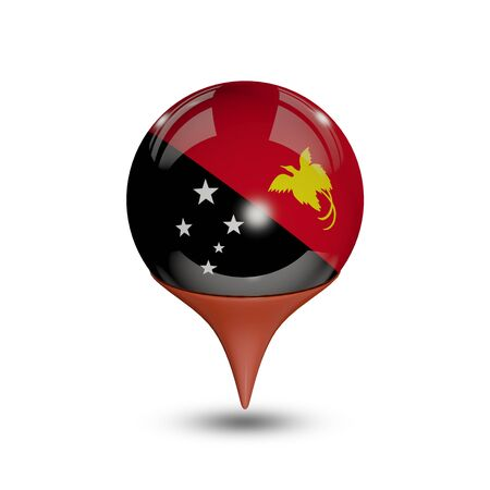 papua: Flag of Papua New Guinea pin isolated on white.
