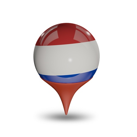 flag pin: Flag of the Netherlands pin isolated on white. Stock Photo