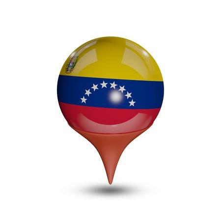 mapa de venezuela: Bandera de Venezuela pin aislados en blanco.