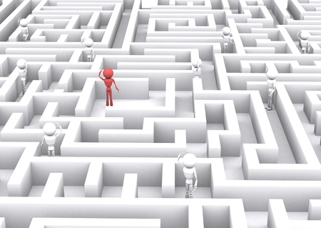 3d human confusing in the maze. photo