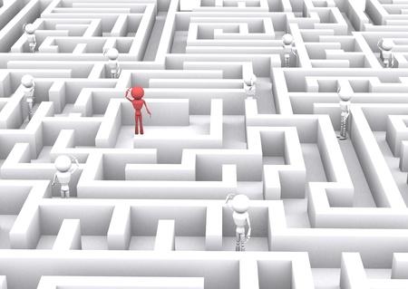 warren: 3d human confusing in the maze. Stock Photo