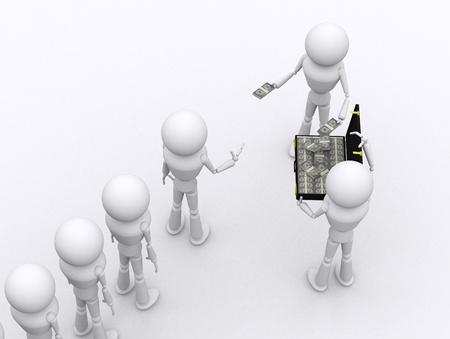 dispense: Concept 3D people dispense money for corrupt.