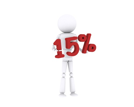 White human holding the 15 percent. Stock Photo - 16196895