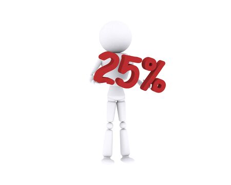 White human holding the 25 percent. Stock Photo - 16196898